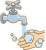 手洗いしている男性